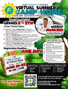 Flint Community Schools Virtual Summer Camp@Home for Kindergarten through 5th