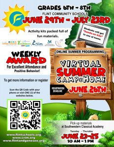 Flint Community Schools Virtual Summer Camp@Home for 6th through 8th Grade