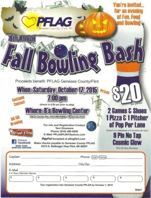 4th Annual Genesee County PFLAG Fall Bowling Bash FUNdraiser
